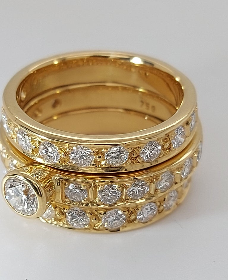 Brilliant Cut 18 Karat Yellow Gold Detachable Diamond Ring and Engagement Ring For Sale