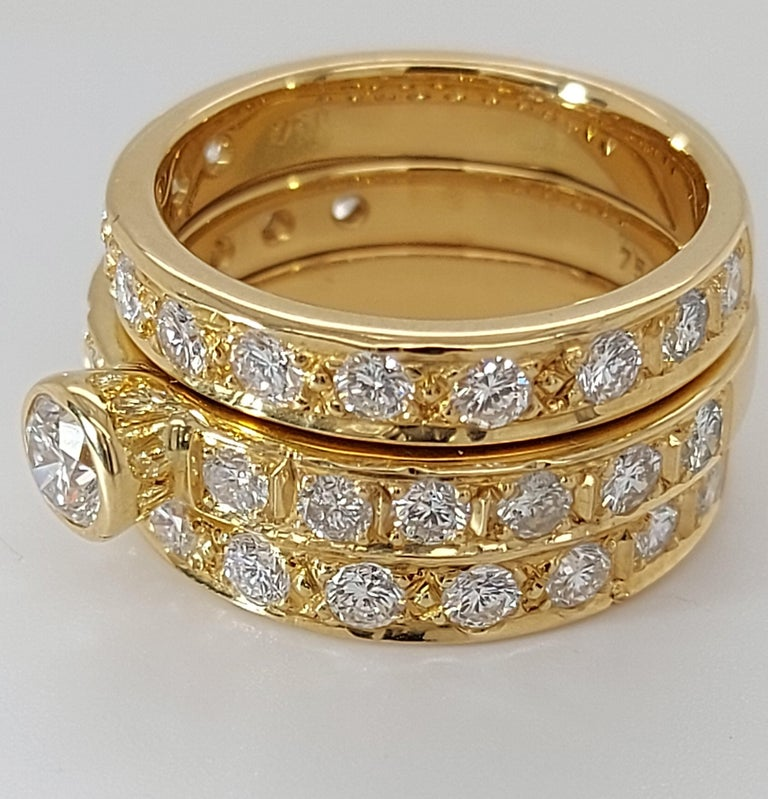 18 Karat Yellow Gold Detachable Diamond Ring and Engagement Ring In Excellent Condition For Sale In Antwerp, BE
