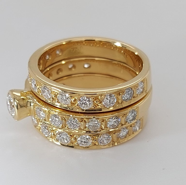 Women's 18 Karat Yellow Gold Detachable Diamond Ring and Engagement Ring For Sale