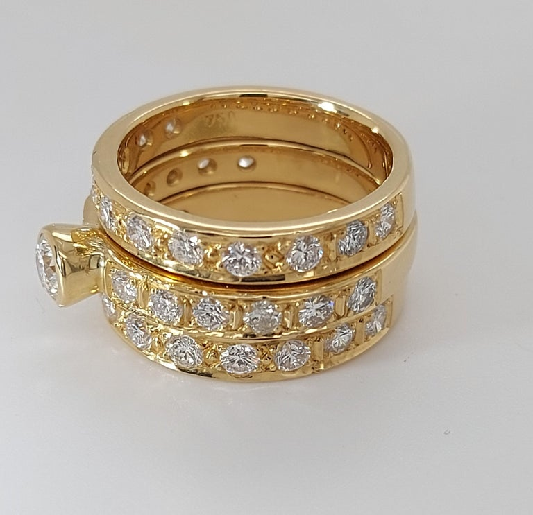 18 Karat Yellow Gold Detachable Diamond Ring and Engagement Ring For Sale 1
