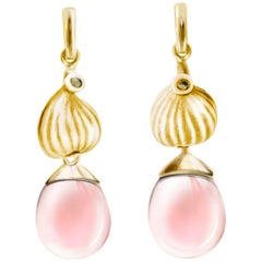 18 Karat Yellow Gold Fig Cocktail Earrings with Rose Quartzes, Featured in Vogue