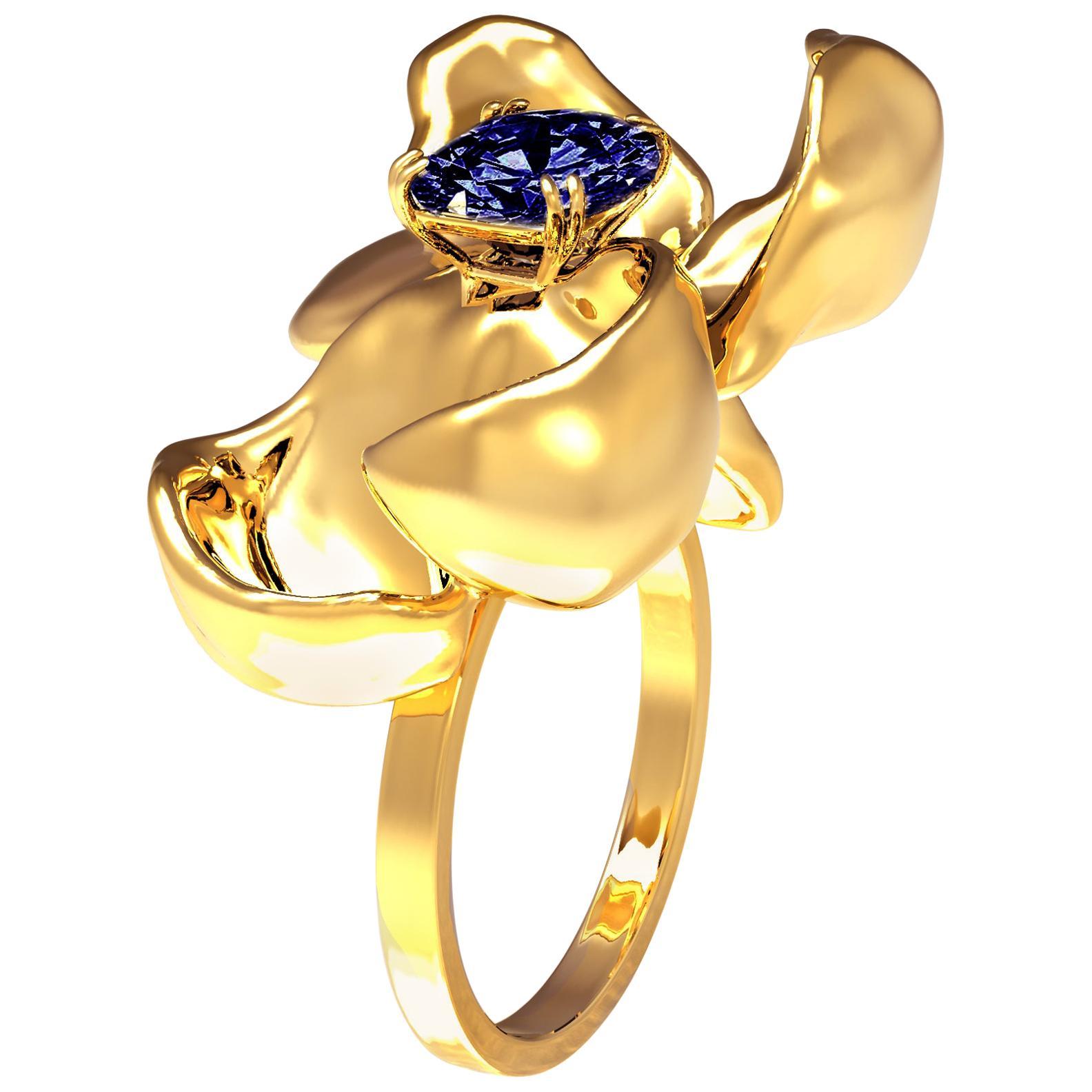 18 Karat Yellow Gold GRS Certified No Heat Royal Blue Sapphire Contemporary Ring
