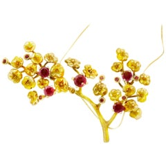 18 Karat Gold Heliotrope Necklace by the Artist, Rubies and Diamonds