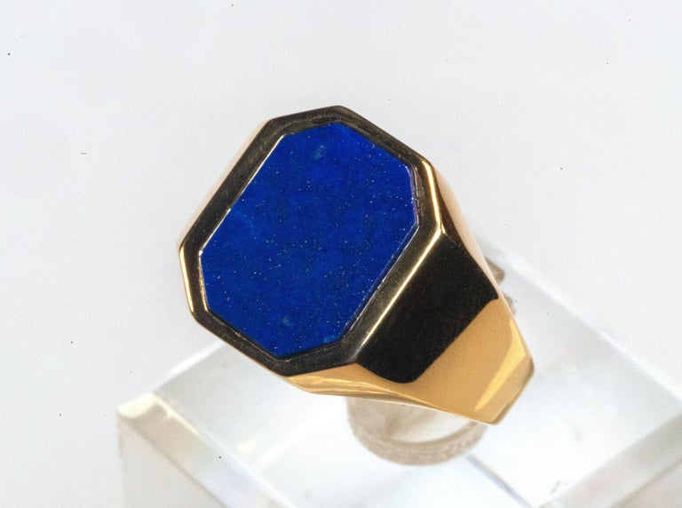 18 Karat Yellow Gold Lapis Lazuli Ring In New Condition For Sale In Rome, IT