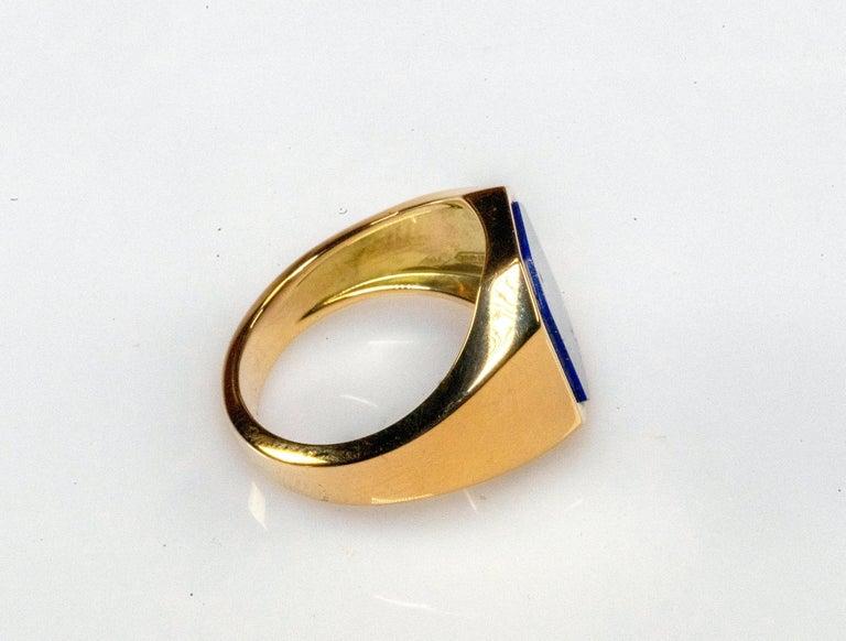 18 Karat Yellow Gold Lapis Lazuli Ring For Sale 2