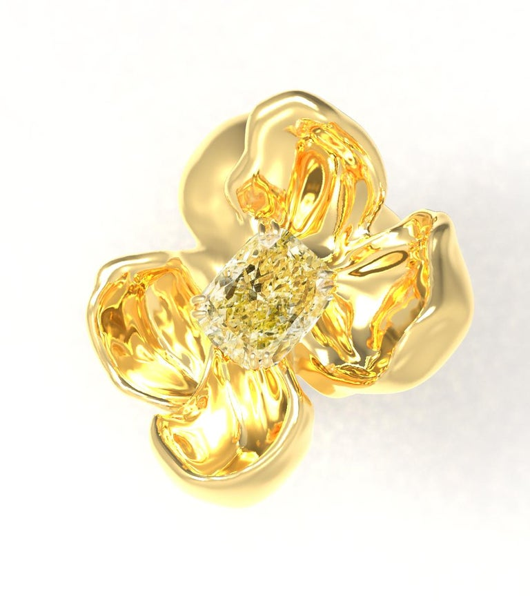 Cushion Cut 18 Karat Yellow Gold Magnolia Ring with GIA Certified 1.1 Carat Yellow Diamond For Sale