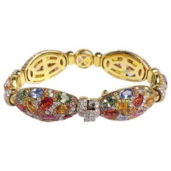 18 Karat Yellow Gold Multicolored Sapphire and Diamond Bracelet