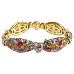 18 Karat Yellow Gold Multicolored Sapphire and Diamond Bracelet