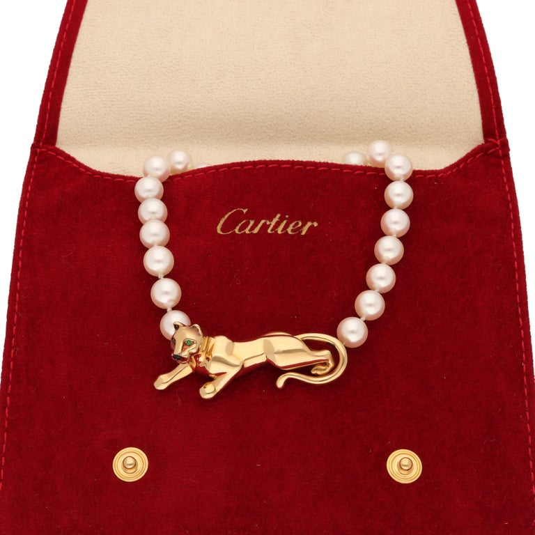 Modern 18 Karat Yellow Gold Panther Pearls Necklace by Cartier