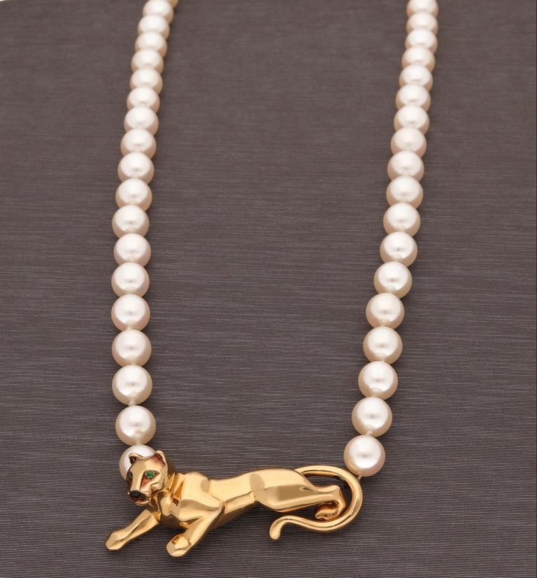 Round Cut 18 Karat Yellow Gold Panther Pearls Necklace by Cartier