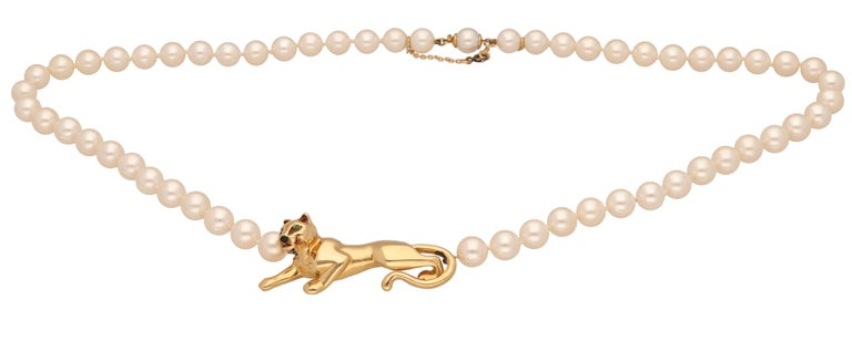 Women's 18 Karat Yellow Gold Panther Pearls Necklace by Cartier