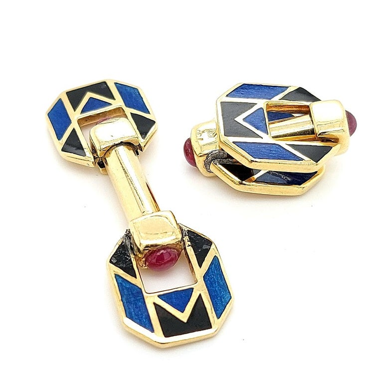 Artisan 18 Karat Yellow Golden Blue and Black Enamel Cufflinks with Ruby Cabochon Stones For Sale
