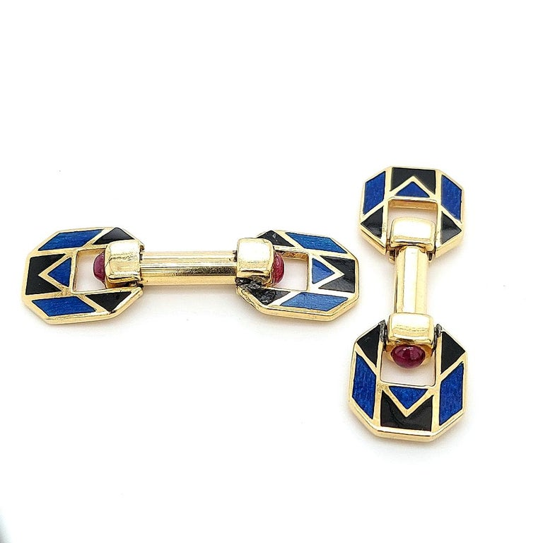 18 Karat Yellow Golden Blue and Black Enamel Cufflinks with Ruby Cabochon Stones In Fair Condition For Sale In Antwerp, BE