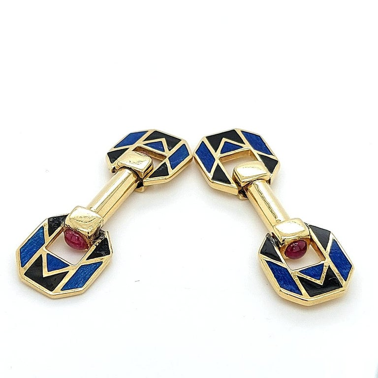 18 Karat Yellow Golden Blue and Black Enamel Cufflinks with Ruby Cabochon Stones For Sale 1