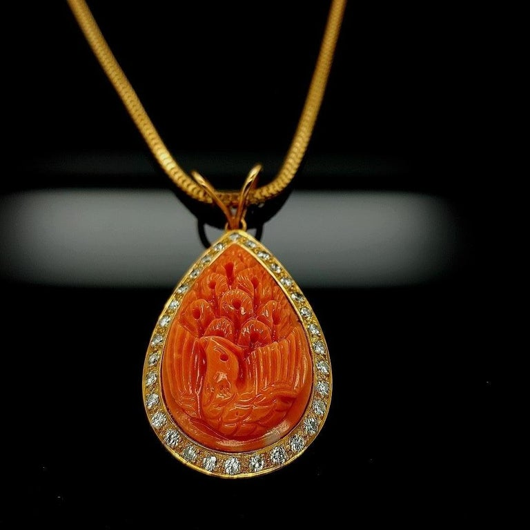 18 Karat Golden Necklace with Carved Coral Pendant and 0.70 Carat Diamonds For Sale 5