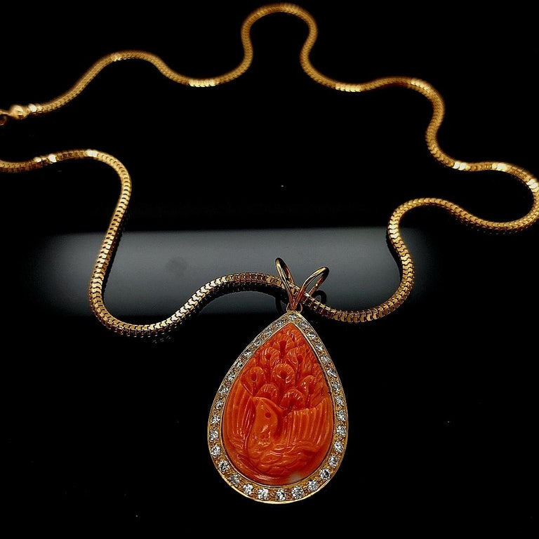 18 Karat Golden Necklace with Carved Coral Pendant and 0.70 Carat Diamonds For Sale 6