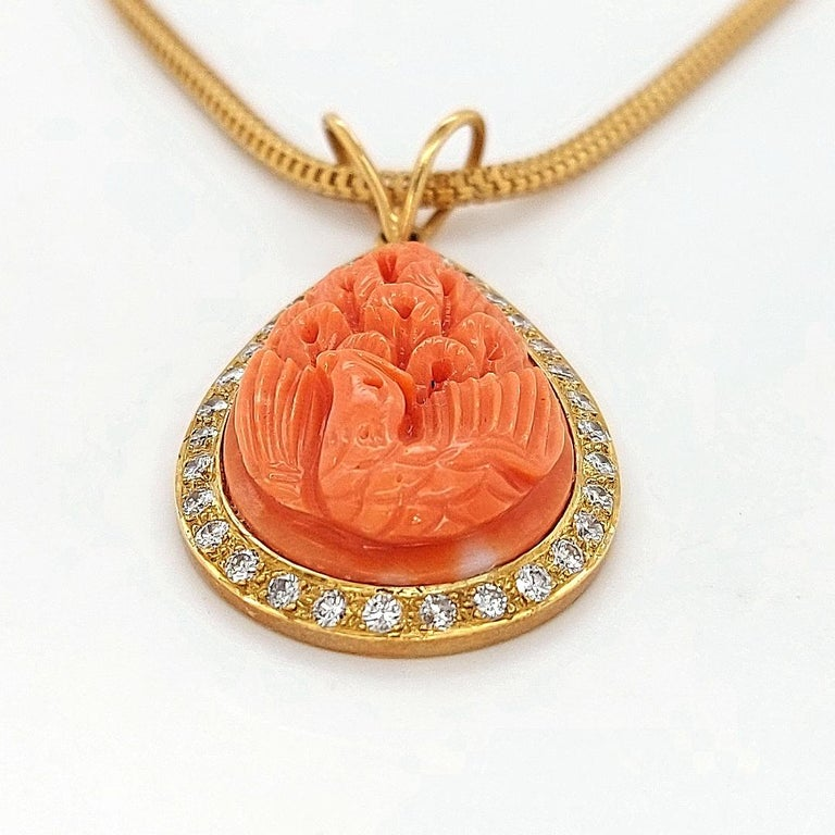 Women's or Men's 18 Karat Golden Necklace with Carved Coral Pendant and 0.70 Carat Diamonds For Sale