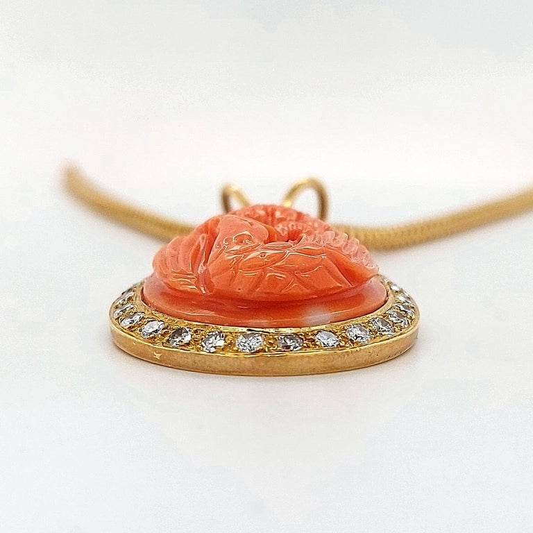 18 Karat Golden Necklace with Carved Coral Pendant and 0.70 Carat Diamonds For Sale 2