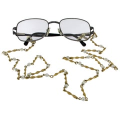 18 Karat Yellow Plated and Pearl Chain for Eyewear