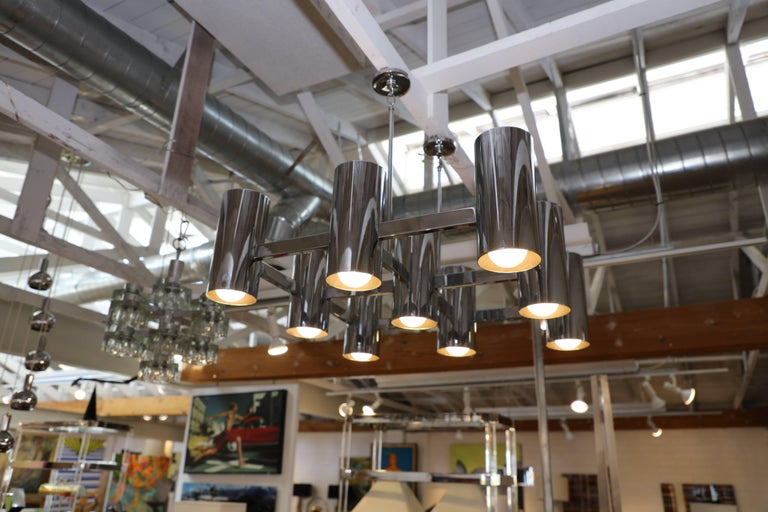 Eighteen-Light Chrome Chandelier Unusual Form In Good Condition For Sale In Palm Springs, CA
