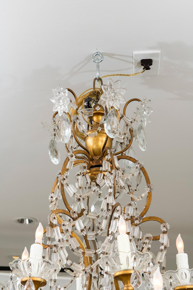 A beautifully heavily beaded 18 light Italian crystal chandelier, newly electrified.