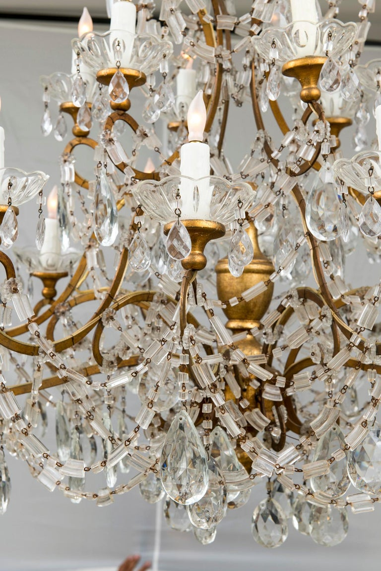 20th Century 18 Light Italian Crystal Chandelier For Sale