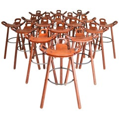 18 'Marbella' Barstools by Sergio Rodrigues for Confonorm, Spain, 1970s