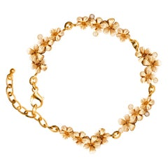 18 Rose Karat Gold Contemporary Link Blossom Bracelet with Diamonds by Artist