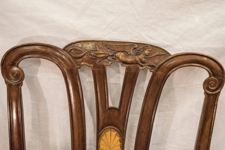 Hand-Carved 18th Century George III Mahogany  English Chippendale   Desk Armchair For Sale