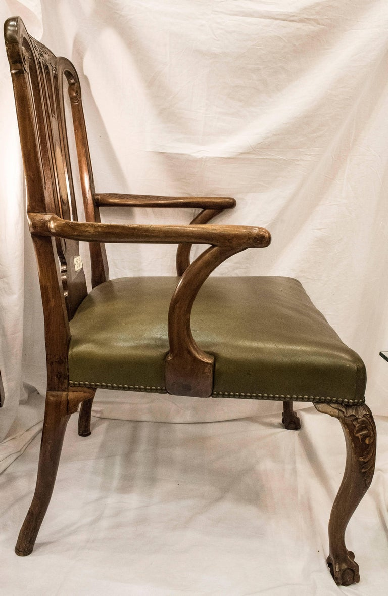 Wood 18th Century George III Mahogany  English Chippendale   Desk Armchair For Sale