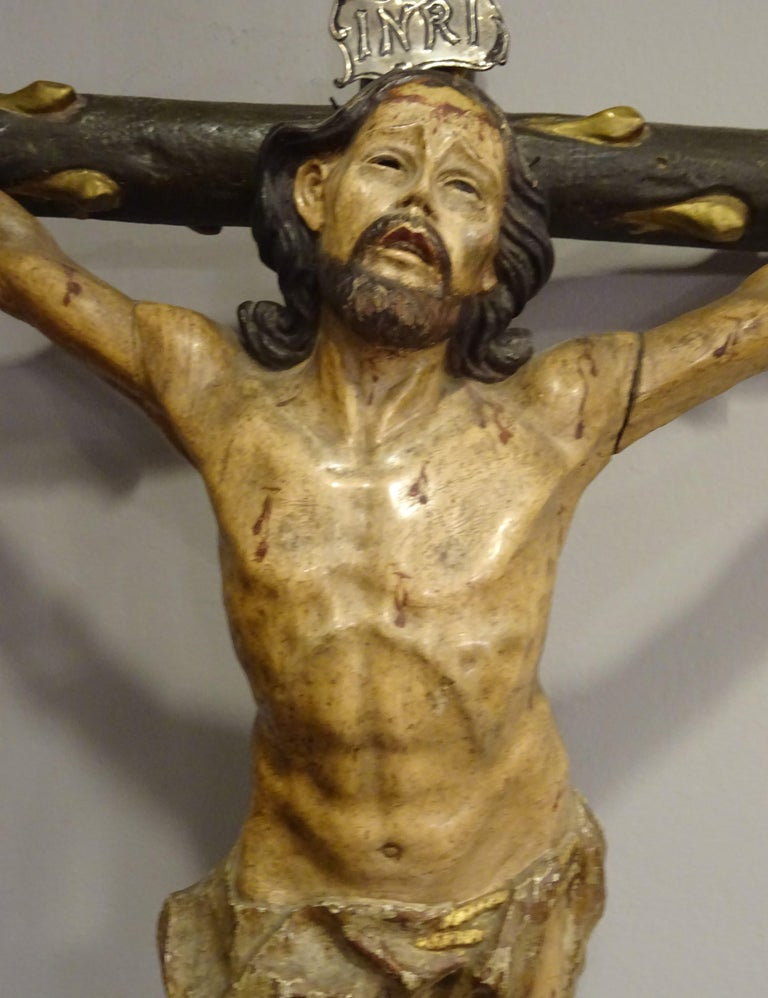 18th Century Hispanic Filipino Carved Wood Sculpture of Crucified Christ For Sale 3