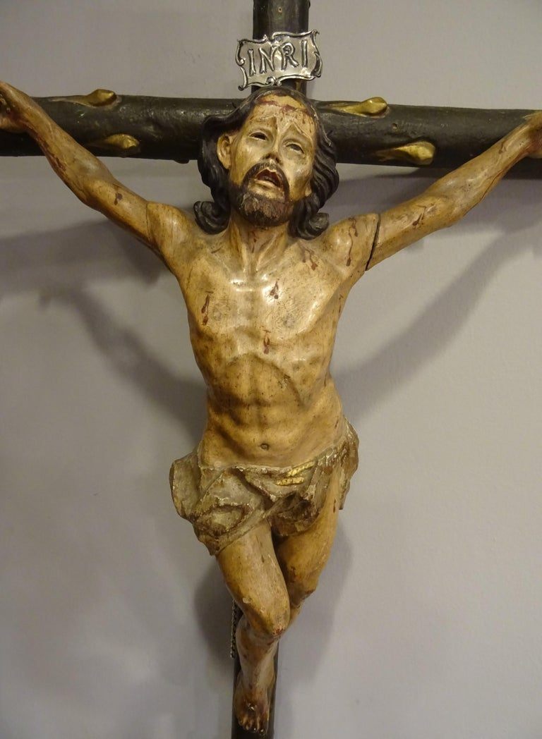 18th Century Hispanic Filipino Carved Wood Sculpture of Crucified Christ For Sale 4