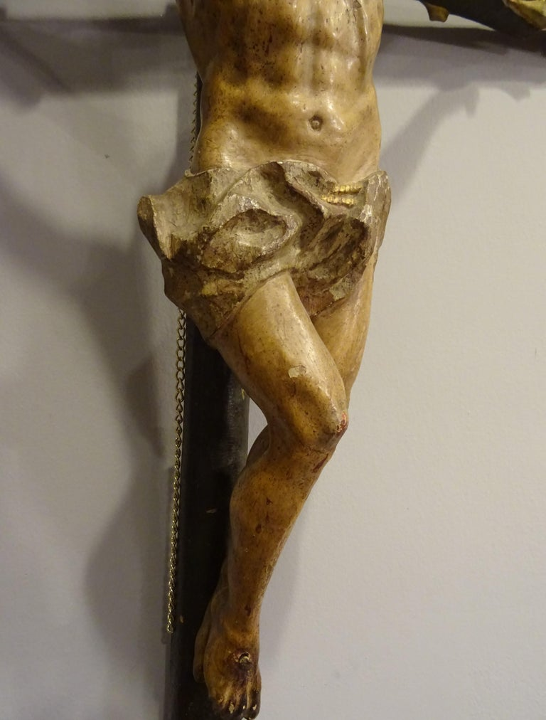 18th Century Hispanic Filipino Carved Wood Sculpture of Crucified Christ For Sale 5