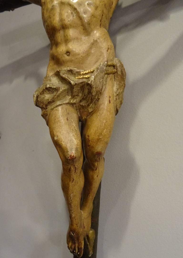 18th Century Hispanic Filipino Carved Wood Sculpture of Crucified Christ For Sale 6