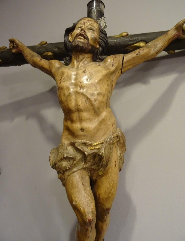 18th Century Hispanic Filipino Carved Wood Sculpture of Crucified Christ For Sale 7
