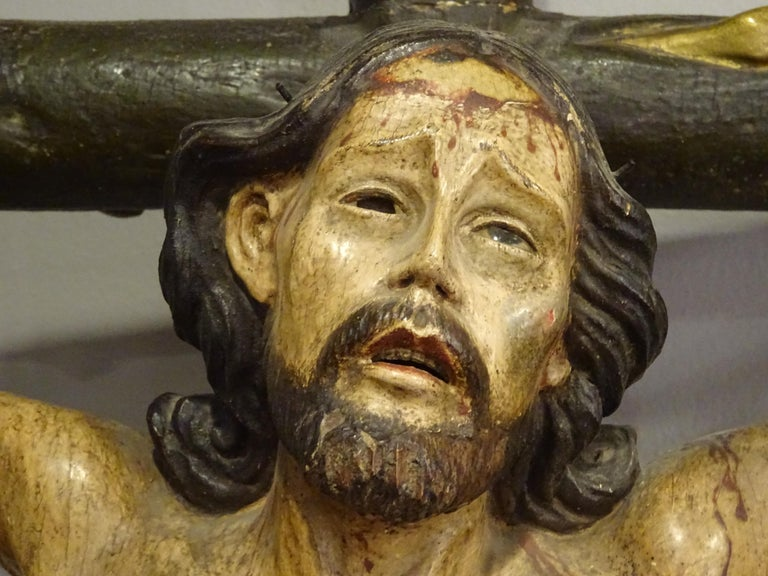 18th Century Hispanic Filipino Carved Wood Sculpture of Crucified Christ For Sale 10