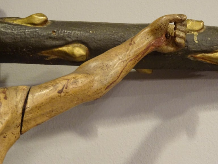 18th Century Hispanic Filipino Carved Wood Sculpture of Crucified Christ For Sale 11