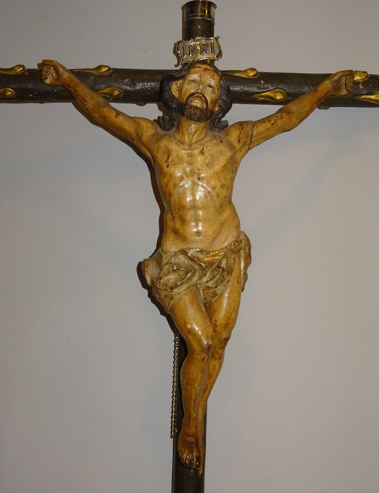 Baroque 18th Century Hispanic Filipino Carved Wood Sculpture of Crucified Christ For Sale