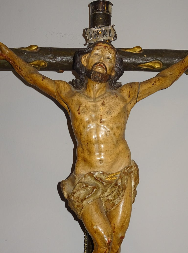 Philippine 18th Century Hispanic Filipino Carved Wood Sculpture of Crucified Christ For Sale