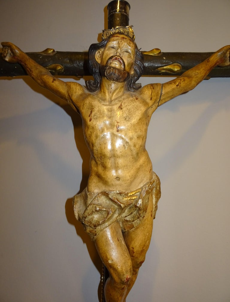 Mid-18th Century 18th Century Hispanic Filipino Carved Wood Sculpture of Crucified Christ For Sale