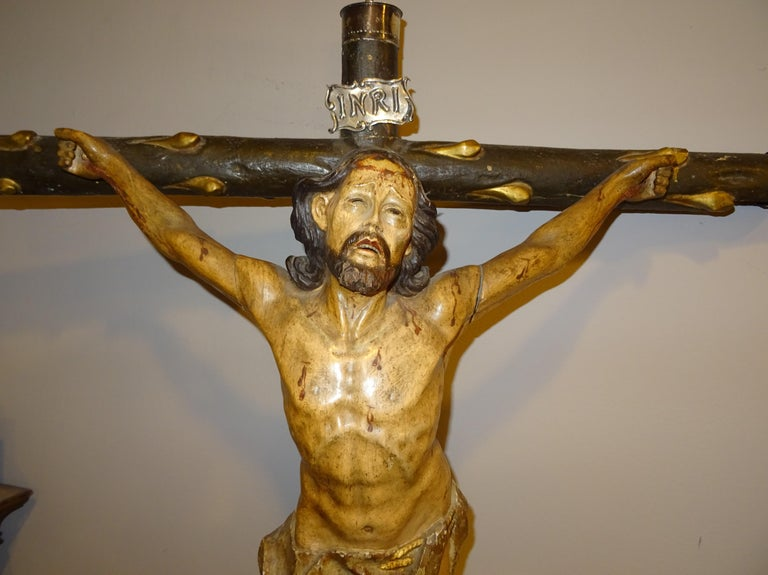 Silver 18th Century Hispanic Filipino Carved Wood Sculpture of Crucified Christ For Sale