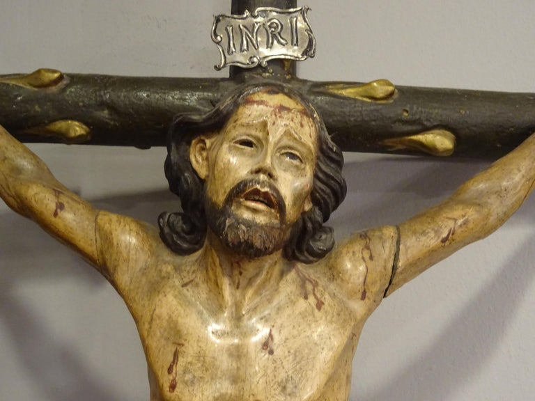 18th Century Hispanic Filipino Carved Wood Sculpture of Crucified Christ For Sale 1