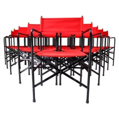 18 Venetian Folding-Patio-Garden Chairs in Steel, Brass and Red Fabric, 1980s