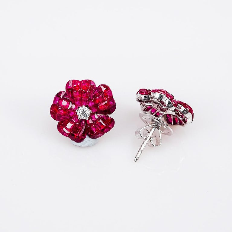 Modern 18 white gold flower Ruby invisible Stud Earrings For Sale