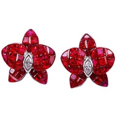 18 Karat White Gold Orchird Flower Ruby Invisible Stud Earrings
