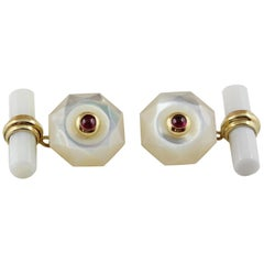 18 Yellow Gold Mother of Pearl Cabochon Rubies Cufflinks