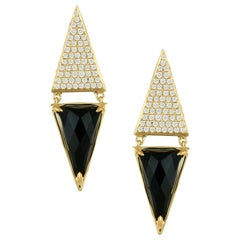 18 Yellow Karat Gold Art Deco Geometric Triangle Drop Earrings with Black Onyx