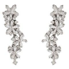 1.80 Carat Baguette Diamond 18 Karat White Gold Earrings