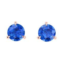 1.80 Carat Blue Sapphires Martini Ear Studs 18K Rose Gold