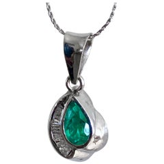 Pear Cut Colombian Emerald Diamond Pendant 18 Karat White Gold